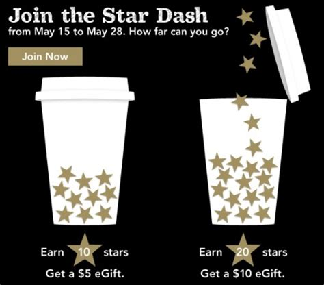 Starbucks Stars For Gift Cards - starbucks earn 5 or 10 gift cards with star dash promo thru 05 28 my frugal