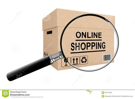 online shopping search concept cardboard box for shipping