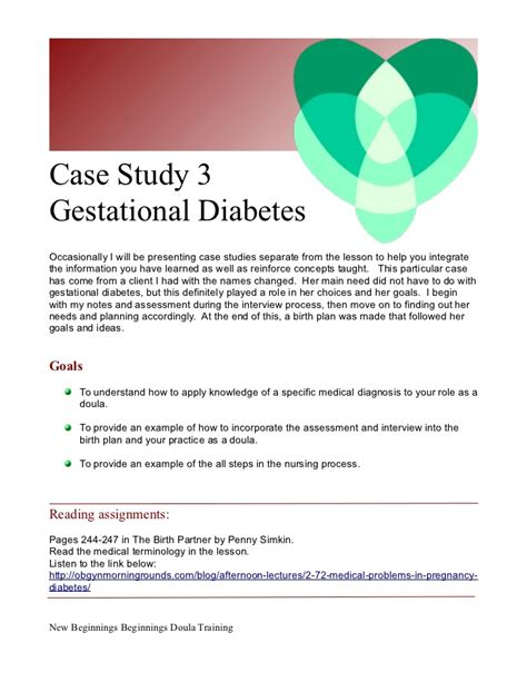 Case Study 3 Doula Care For C Section And Gestational Diabetes