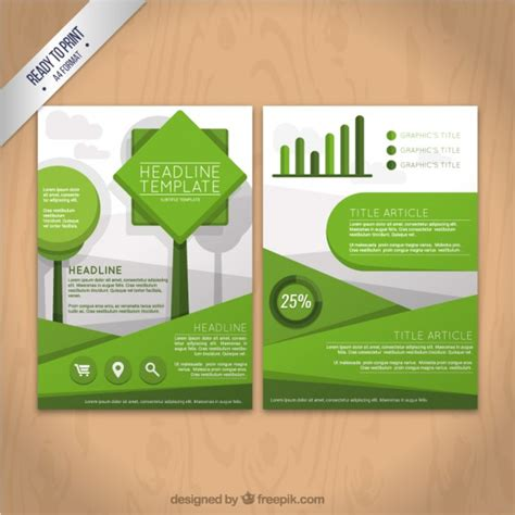green brochure template geometric green flyer template vector free