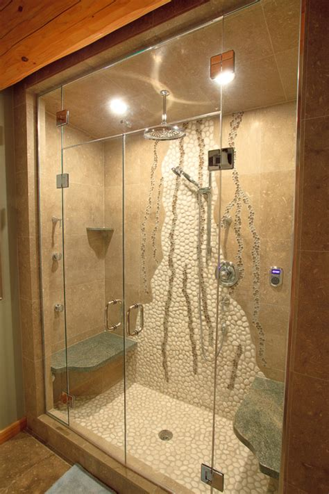 Unique Bathroom Tiles Designs by Unique Shower Wall Design With White Pebble Tile Glass