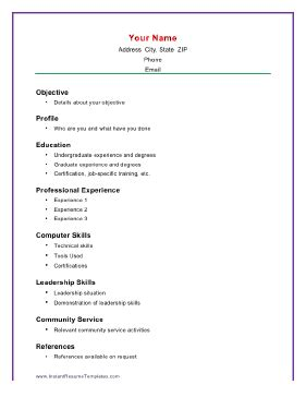 a simple resume format basic academic resume template