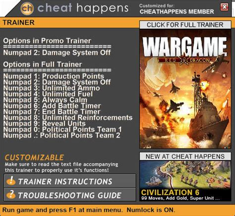 wargame red dragon trainer  update   versions cheathappenscom
