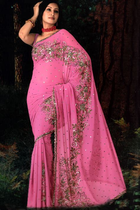 Home Designer Online Sari Crepe And Sequins Beads Comparing Stone Pink