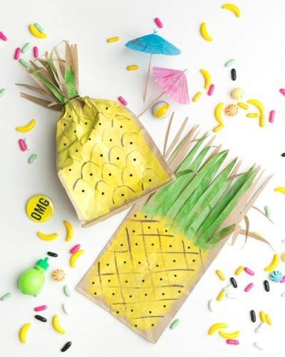 Pineapple Paper Craft - pineapple favor bags family crafts