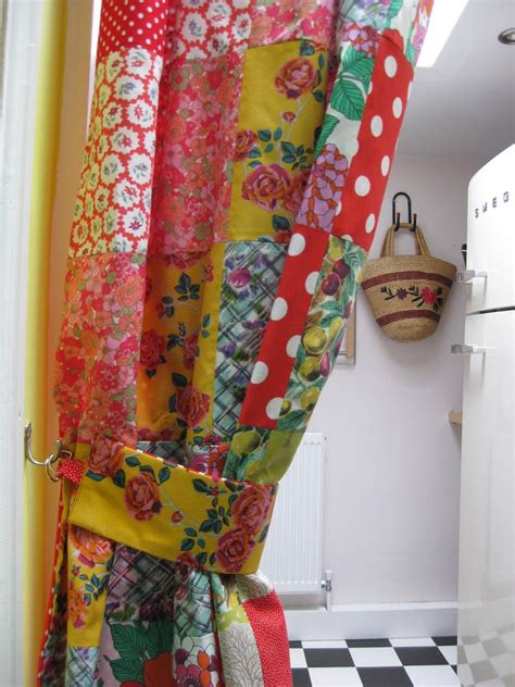 patchwork kitchen curtains    curtain    vintage  modern printed cottons