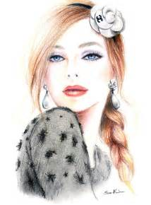 colored pencil drawing chanel camellia fashion inspired