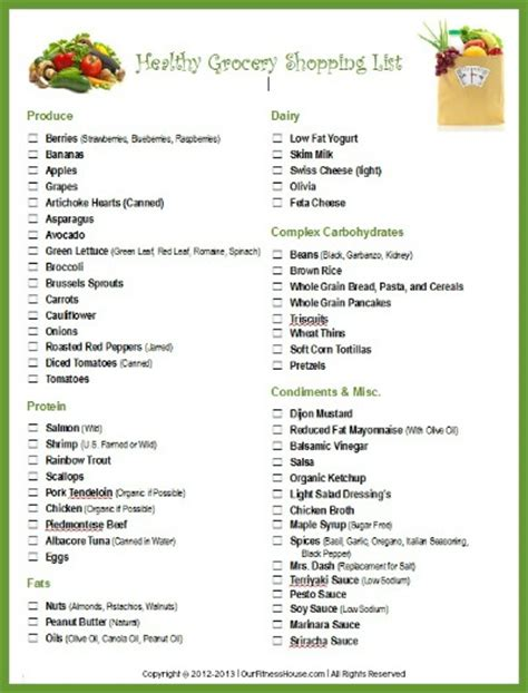 Printable Healthy Shopping List | printable workout routines and healthy lifestyle charts
