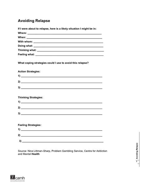 Detox Handout by Addiction Relapse Prevention Plan Template Permalink