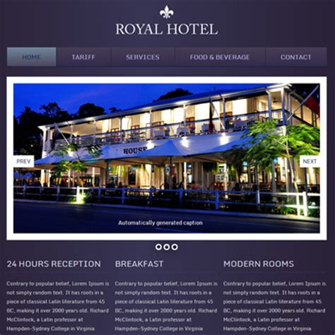 hotel template free hotel royal webtemplate and mobile webtemplate for free by