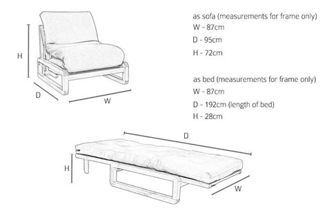 size sofa bed dimensions single seater solid oak wooden sofa bed futon company