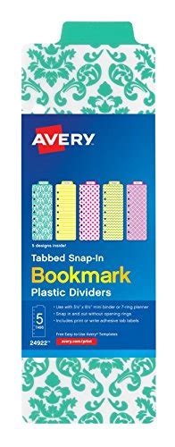 Avery Bookmark Template by Avery Tabbed Snap In Bookmark Plastic Dividers For Five 1 2 X 8 1 2 Mini Binder Five Tab 1