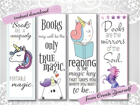 printable unicorn bookmarks printable bookmark unicorn bookmark gift for her lovers