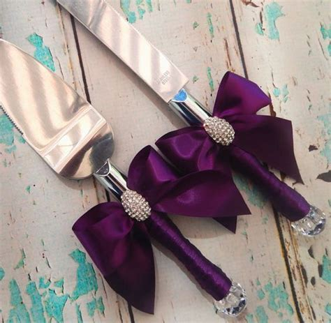 Your Color , Wedding Cake Serving Set , Plum Wedding knife