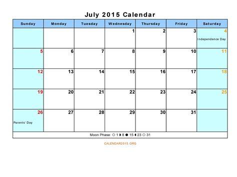 july 2015 calendar template