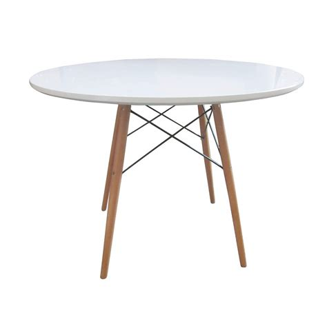Bentley Home Retro Wooden White Round Dining Table Dining Table
