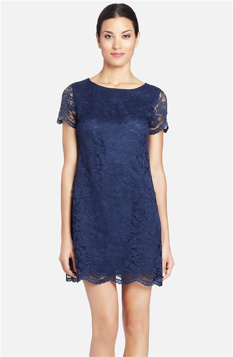 Shift Dresses by Cynthia Steffe Reese Illusion Sleeve Lace Shift Dress In