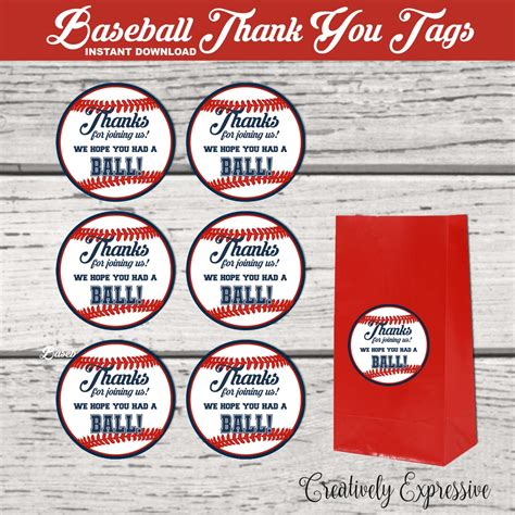 printable baseball tags baseball party baseball thank you tags baseball party favor
