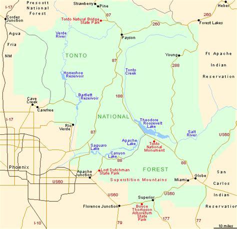 arizona national forest map tonto national forest arizona