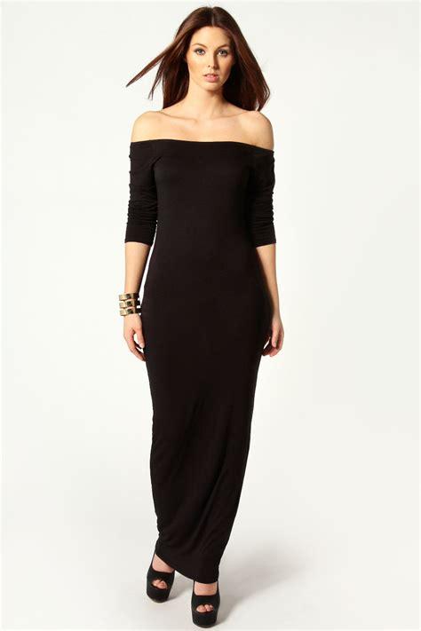 maxi jurken boohoo boohoo allie off the shoulder long sleeve maxi dress ebay