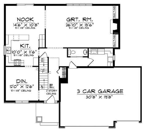 square feet of 3 car garage traditional style house plan 4 beds 2 5 baths 2382 sq ft