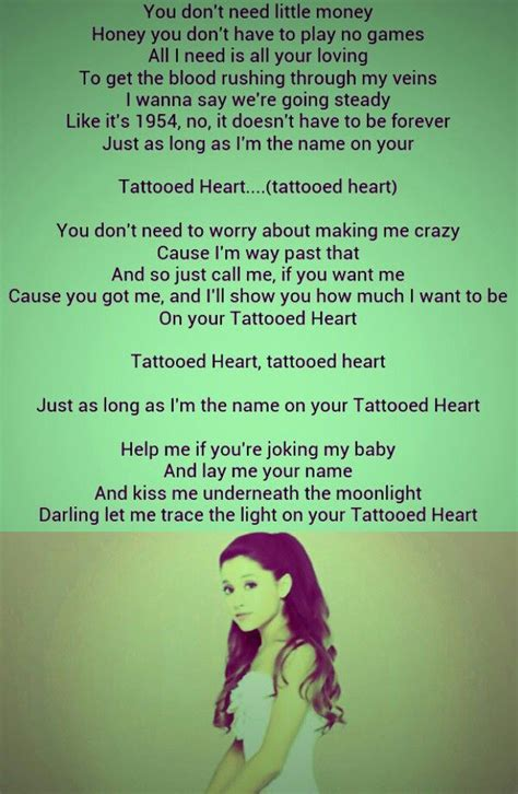 tattooed heart songwriter tattooed heart ariana grande i love this song pretty
