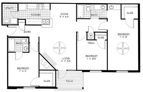 simple house plan with 4 bedrooms inspiring large 4 3 bedroom house plans on simple floor plans for 3 bedroom simple