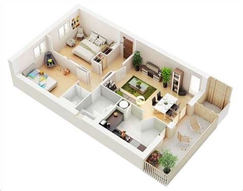20 awesome 3d apartment plans with two bedrooms part 2 10 awesome two bedroom apartment 3d floor plans