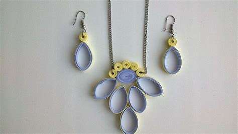 Paper Craft Jewellery - how to make a paper earring and necklace set diy crafts