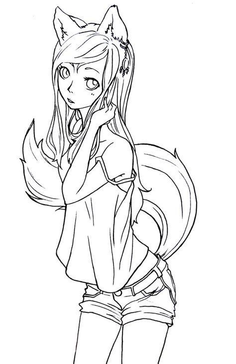 kids coloring pages printable anime fox girl coloring home fox girl lineart by komorinight deviantart com lineart