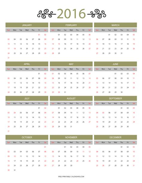 12 Month Calendar 2016 12 Month Colorful Calendar For 2016 Free Printable Calendars