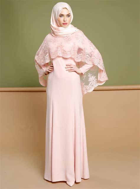 desain long dress muslimah muslim women dress turkey style abaya lace smock islamic