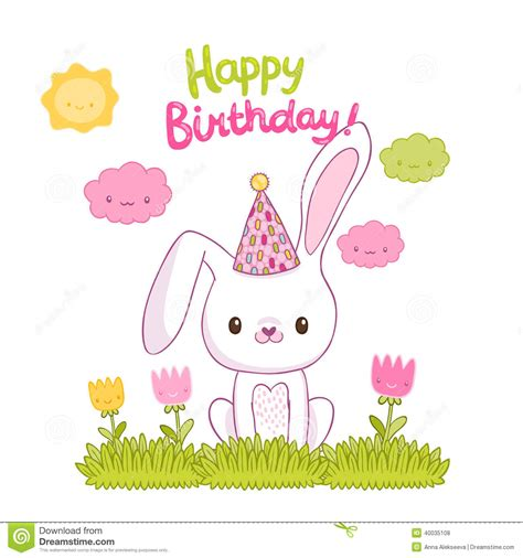 Simple Birthday Card Monochrome Rabbit Set happy birthday card with a bunny stock vector image 40035108