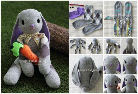 easy sock animals tutorial knitted square bunny rabbit simple steps tutorial