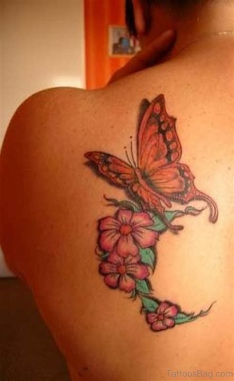 55 Beautiful Butterfly And Flower Shoulder Tattoos Butterfly Flower And Tattoos