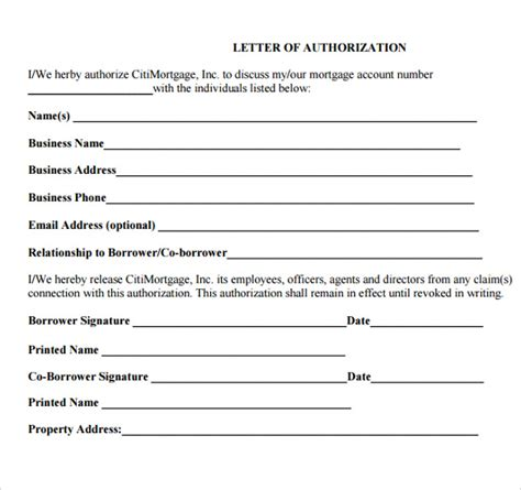authorization letter form sle letter of authorization 8 documents in