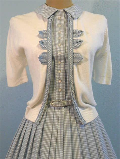 vintage 1950 s gingham dress sweater skirt easter