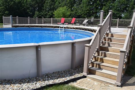 Patio Pavers Around Above Ground Pool Above Ground With Deck Pool Cleveland By Litehouse Pools
