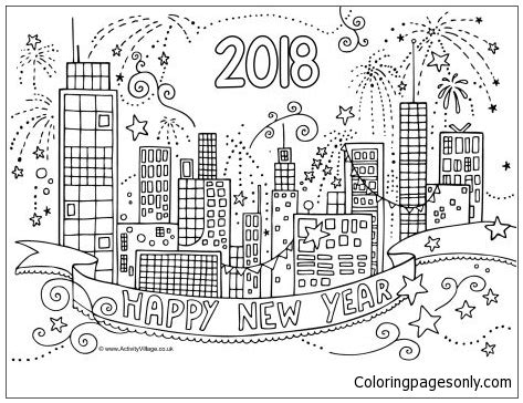new year color for 2018 2018 new year city coloring page free coloring pages
