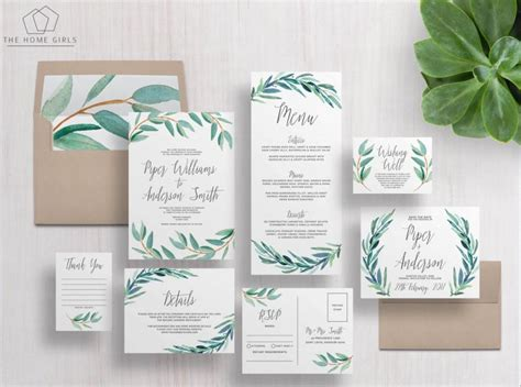 Leaf Themed Wedding Invitations by Printable Wedding Invitation Suite Eucalyptus Invitation