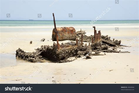 higgins beach boat wreck shipwreck steam ship on beach moreton stock photo 43028584