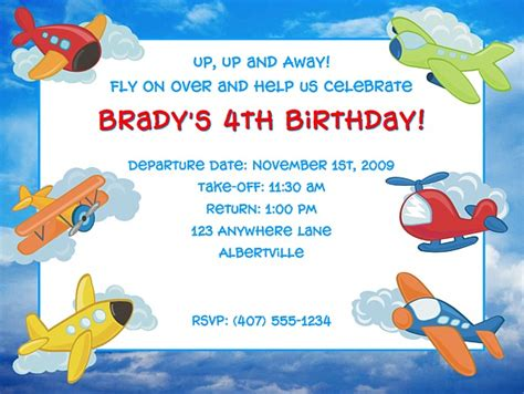 Airplane Birthday Party Invitations Airplane Kids Birthday Airplane Birthday Invitation Template