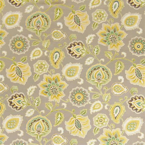 kovi fabrics winterwood yellow neutral floral cotton print
