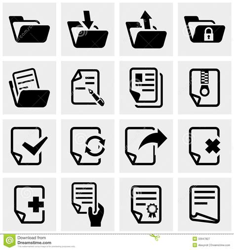 eps format is document vector icons set on gray stock vector image
