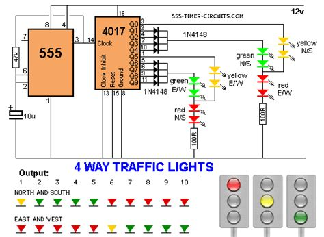 4 way traffic lights circuit
