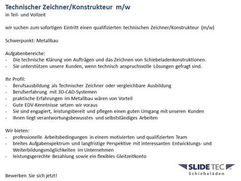 Initiativbewerbung Anschreiben Technischer Zeichner Karriere Slidetec Schiebel 228 Den