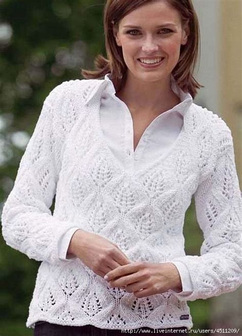 v neck pullover knitting pattern white pullover with v neck and lace leaf pattern