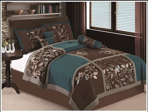 7 pc full size esca bedding teal blue brown comforter set