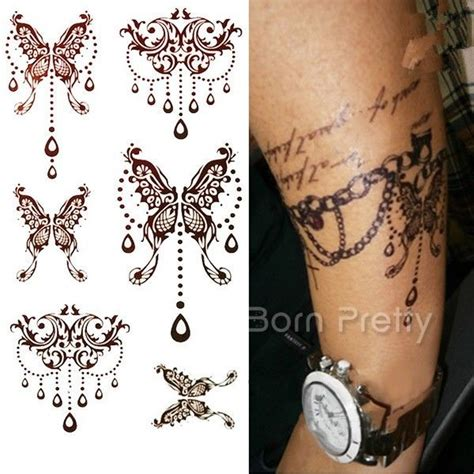 butterfly tattoo decals henna art decals mehendi