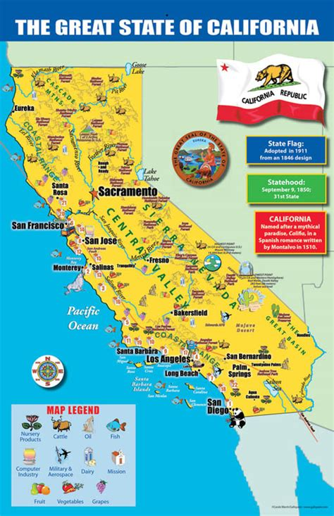 california map legend california state map chart 11 quot x 17 quot 020945 details